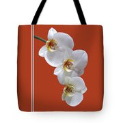 White Orchids On Terracotta Vdertical Tote Bag