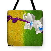 White Orchids On Yellow And Green Tote Bag