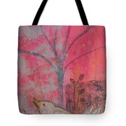 White Peace Bird On Pink Tote Bag