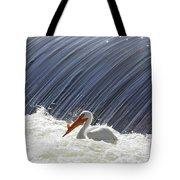 White Pelican Over The Dam Tote Bag