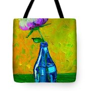 White Peony Into A Blue Bottle Tote Bag