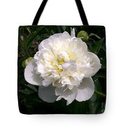 White Peony Watercolor Effect Tote Bag