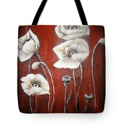 White Poppies Tote Bag by Elena  Constantinescu