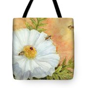 White Poppy And Bees Tote Bag