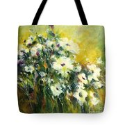 White Poppy Garden II Tote Bag
