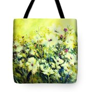 White Poppy Garden Tote Bag