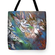 White Rabbits On The Run Tote Bag