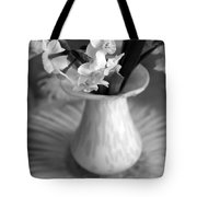 White Rays And Flowers Tote Bag