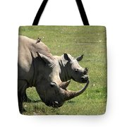 White Rhino Mother And Calf Tote Bag