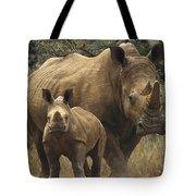 White Rhinoceros And Baby Lewa Kenya Tote Bag