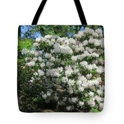 White Rhododendron Blooming In The Garden Tote Bag