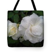 White Rose And Raindrops Tote Bag