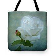 White Rose On Blue Tote Bag