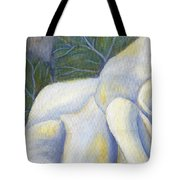 White Rose Two Panel One Of Four Tote Bag