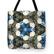 White Roses And Babys Breath Kaleidoscope Tote Bag