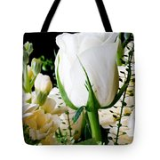 White Roses Close Up Tote Bag
