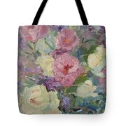 White Roses And Statice Tote Bag