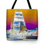 White Sails Ship And Colorful Background Tote Bag
