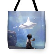 White Shark And Young Boy Tote Bag by David Smith