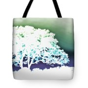 White Silhouette Of Oak Tree Against Blue And Green Watercolor Background Tote Bag