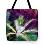 White Spider Flower On Orange And Plum - Vertical Tote Bag