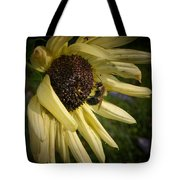 White Sunflower And Bee Tote Bag