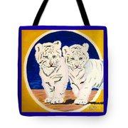 White Tiger Twins Tote Bag
