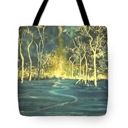 White Trees In The Blue Woods Tote Bag by Stefan Duncan