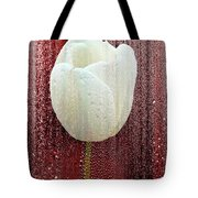 White Tulip On Red Tote Bag