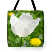 White Tulip On The Green Background Tote Bag