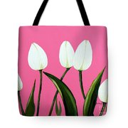 White Tulips On Pink Tote Bag