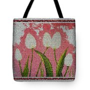 White Tulips On Pink In Stained Glass Tote Bag