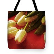 White Tulips Over Red Tote Bag
