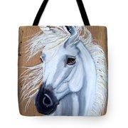 White Unicorn On Wood Tote Bag