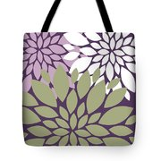 White Violet Green Peony Flowers Tote Bag