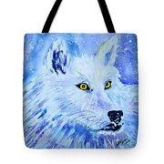 White Wolf - Aurora Nights In Blues - Square Tote Bag