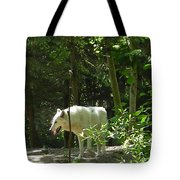White Wolf In Forest Tote Bag