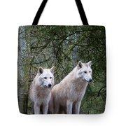 White Wolf Pair Tote Bag
