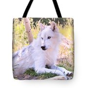 White Wolf Taking It Easy Tote Bag