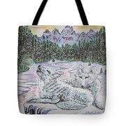 White Wolves Tote Bag