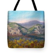 Whitehorse And Cathedral Ledges From The Red Jacket Inn Tote Bag
