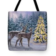 Whitetail Christmas Tote Bag by Crista Forest