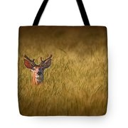 Whitetail Deer In Wheat Field Tote Bag