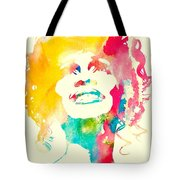 Whitney Houston Watercolor Canvas Tote Bag