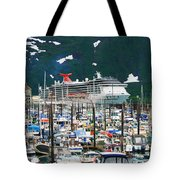 Whittier Alaska Boat Harbor Tote Bag