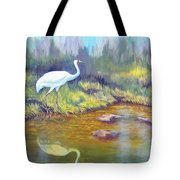 Whooping Crane - Searching For Frogs Tote Bag