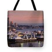 Wider Seattle Skyline And Rainier At Sunset From Magnolia Tote Bag