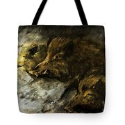 Wild Boars Running Across The Snow Tote Bag