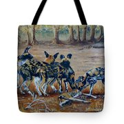 Wild Dogs After The Chase Tote Bag