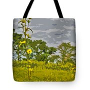 Wild Flower Field Abstract Tote Bag